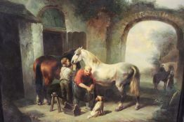 A 20th CENTURY FRAMED OIL ON BOARD OF A COURTYARD SCENE IN 18TH CENTURY STYLE WITH HORSES AND
