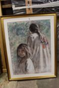 DIMITAR KRUSTER (XX). Continental school, a study of two young girls, signed lower right, pastel