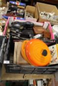 TWO TRAYS OF ASSORTED COLLECTABLES AND CERAMICS ETC. TO INCLUDE A PAIR OF VINTAGE ICE SKATES, LE