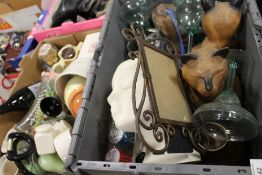 TWO BOXES OF ASSORTED HOUSEHOLD SUNDRIES TO INCLUDE WOODEN CAT FIGURES