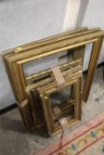 A QUANTITY OF VINTAGE GILT PICTURE FRAMES OF ASSORTED SIZES