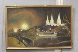 A LARGE GILT FRAMED OIL ON CANVAS DEPICTING A NIGHT TIME RIVER SCENE WITH FIGURE CROSSING A BRIDGE