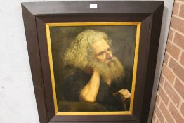 (XVII-XVIII). Old master style study of a bearded man holding a staff, thought to be St. Jerome,