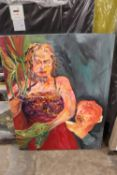 A LARGE UNFRAMED OIL ON CANVAS ABSTRACT FIGURE STUDY OF A WOMAN ENTITLED 'DAPHNE TO APOLLO' BY