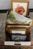 A TRAY OF PICTURES AND PRINTS TO INCLUDE WATERCOLOURS