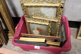 A BOX OF ASSORTED PICTURES AND PRINTS TO INCLUDE GILT FRAMED FLORAL OIL PAINTINGS, WATERCOLOUR ETC.