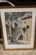 A FRAMED AND GLAZED WATERCOLOUR OF A CONTINENTAL STREET SCENE INDISTINCTLY SIGNED LOWER RIGHT
