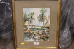 A FRAMED GLAZED WATERCOLOUR OF FIGURES FISHING SIGNED CHENK