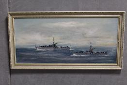 A FRAMED VINTAGE OIL ON BOARD DEPICTING WAR SHIPS AT SEA