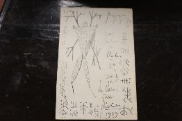 CIRCLE OF PABLO RUIZ PICASSO - MODERNIST FIGURE STUDY, BEARS SIGNATURE AND DATE LOWER RIGHT