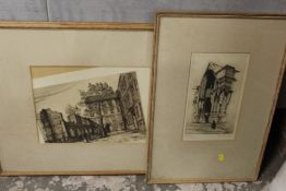 TWO FRAMED AND GLAZED ANTIQUE ETCHINGS