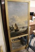 A 19TH CENTURY OIL ON CANVAS OF A FRENCH ESTUARY HARBOUR SCENE WITH MIRROR PANEL BELOW IN GILT