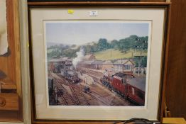 A FRAMED AND GLAZED SIGNED LIMITED EDITION P O JONES RAILWAY INTEREST PRINT