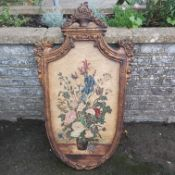 A LARGE HAND-PAINTED LEATHER PANEL DEPICTING A VASE OF FLOWERS AND BUGS, SET IN A LATER FRAME