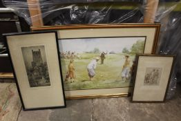 A FRAMED AND GLAZED PEN AND INK SKETCH OF AN INTERIOR SCENE WITH FIGURES TOGETHER WITH A PRINT OF