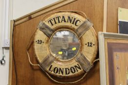 A TITANIC INTEREST WALL MIRROR IN THE FORM OF A LIFE RING