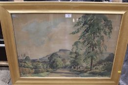 A LARGE GILT FRAMED AND GLAZED WATERCOLOUR DEPICTING A HILLSIDE ROD SIGNED EDWIN HARRIS