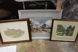A FRAMED OIL ON CANVAS DEPICTING A TUDOR BUILDING, SIGNED A.S. PHILLIPS 1975, A FRAMED AND GLAZED