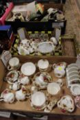 TWO TRAYS OF ROYAL ALBERT OLD COUNTRY ROSES CHINA AND CERAMICS TO INCLUDE CUPS AND SAUCERS,