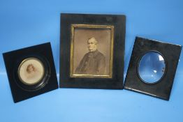 TWO VICTORIAN MINIATURE PORTRAITS AND A SIMILAR FRAME