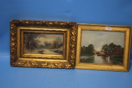 A FRAMED OIL ON BOARD DEPICTING A COUNTRY SCENE SOGNED 'BOSSI' TOGETHER WITH A PAINTING OF A CANAL