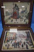 TWO LARGE FRAMED LOWRY PRINTS APPROX. 81 X 74 CM