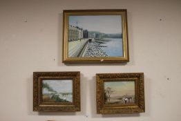 TWO OIL PAINTINGS LANDSCAPES TOGETHER WITH A PAINTING OF A SEAFRONT (3)