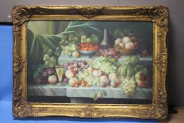 A LARGE STILL LIFE OIL PAINTING DEPICTING FRUIT, APPROX. 80 X 111 CM