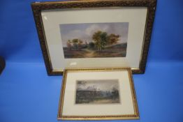 TWO FRAMED WATERCOLOURS DEPICTING RURAL SCENES