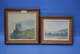 TWO FRAMED PAINTINGS BY HUGH T. LAMMIE 'CRAOBH HAVEN' & 'DUNTROON CASTLE' (2)