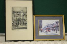 A PRINT OF A BETTY STIRLING PAINTING OF TRAMS TOGETHER WITH AN ETCHING OF CANTERBURY GATE BY ADRIAN