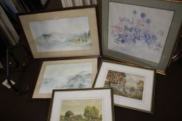 FIVE FRAMED WATERCOLOURS TO INCLUDE LAKESIDE SCENES