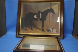 A FRAMED PICTURE OF A HORSE AND DOG TOGETHER WITH A FRAMED PRINT OF A WINTER SCENE
