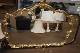 A LARGE GILT MIRROR APPROX. 122 X 90 CM