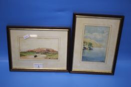 TWO FRAMED WATERCOLOURS, ONE A SEASCAPE SIGNED W. TAYLOR, THE OTHER A RIVERSIDE SCENE, SIGNATURE