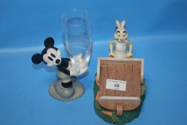 TWO PORCELAIN DISNEYLAND FIGURES, ONE MICKEY MOUSE