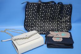 A RADLEY TWO HANDLED BAG WITH PRICE TAG TOGETHER WITH TWO RADLEY HANDBAGS WHICH ARE SECOND HAND