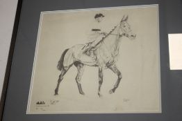 A FRAMED AND GLAZED LIMITED EDITION PRINT OF ARKLE SIGNED