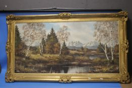 AN OIL ON CANVAS BY FRITZ ZCHIESCHE, LANDSCAPE SCENE, APPROX 116 X 66 CM