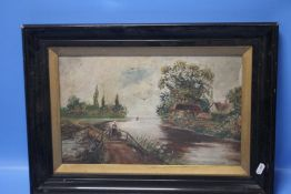 AN OIL PAINTING OF A RIVER SCENE SIGNED JOHNSON