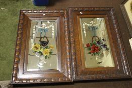 TWO OAK FRAMED GYPSY MIRRORS WITH PAINTED GLASS, APPROX. 52 X 83 CM