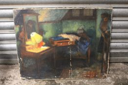 A VINTAGE OIL ON CANVAS DEPICTING AN INTERIOR SCENE WITH FIGURE - SIGNED VERSO