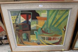 AFTER ANDRE L'HOTE (1885-1962) - ABSTRACT DOCKLAND SCENE WITH BOATS COLOURED PRINT ON BOARD