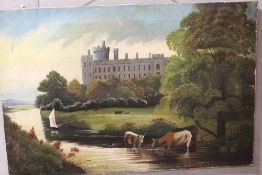 AN UNFRAMED OIL ON CANVAS DEPICTING CATTLE WATERING BEFORE A CASTLE