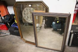 AN OCTAGONAL WALL MIRROR, TOGETHER WITH ANOTHER (2)