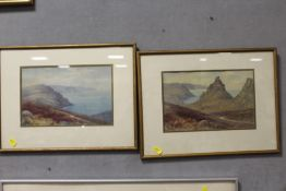 A PAIR OF FRAMED AND GLAZED WATERCOLOURS DEPICTING RURAL COASTAL SCENES