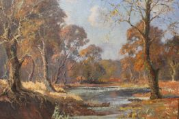 ? JAMESON. Impressionist wooded river landscape, signed and dated 1938 lower right, oil on canvas,