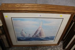 A SET OF FOUR FRAMED AND GLAZED LEGENDARY YACHTS OF RACING PRINTS