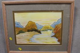 A FRAMED AND GLAZED WATERCOLOUR DEPICTING A MOUNTAINOUS RIVER SCENE SIGNED MAYNARD LOWER RIGHT