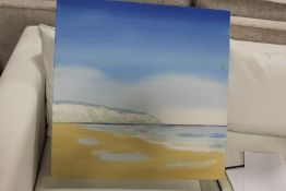 AN UNFRAMED OIL ON CANVAS DEPICTING SOUTH COAST CLIFFS BY SANDRA FRANCIS, SIGNED VERSO